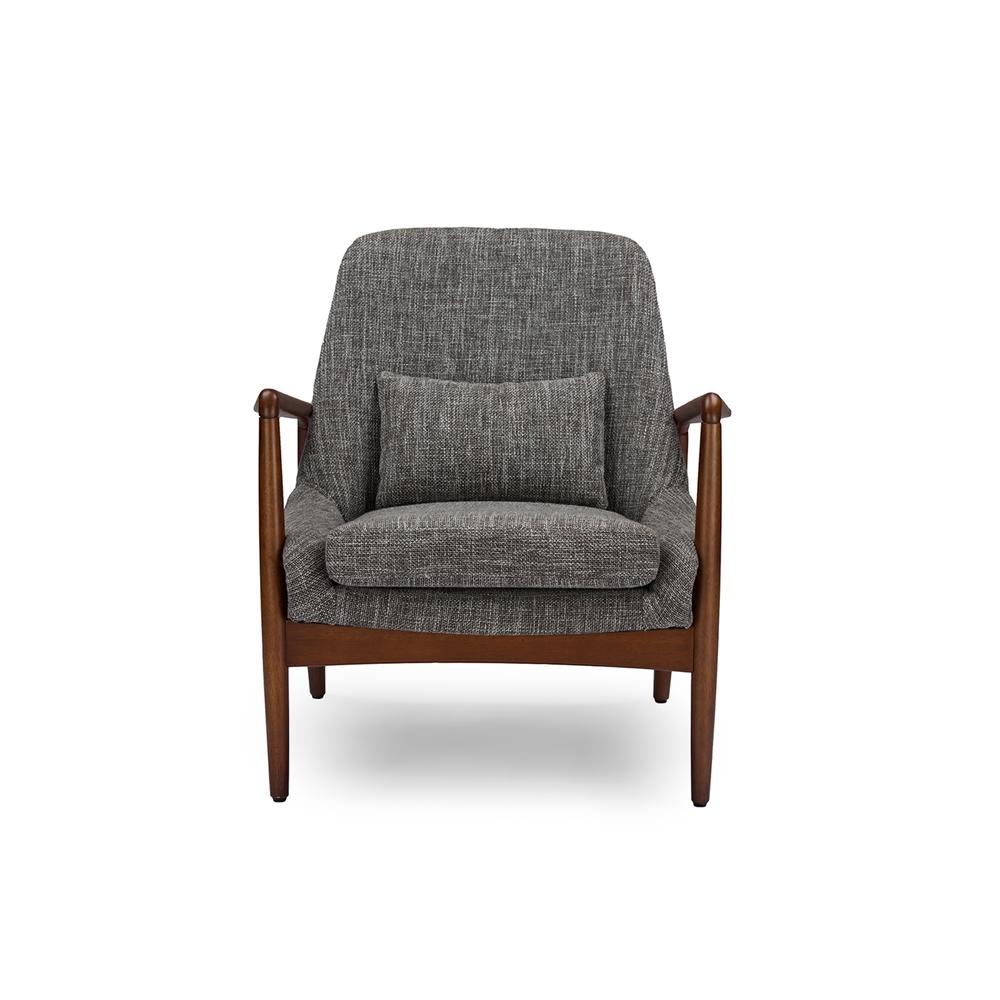 Baxton Studio Carter Mid Century Modern Retro Grey Fabric Upholstered Leisure Accent Chair In Walnut