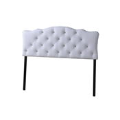 Baxton Studio Rita Modern and Contemporary Queen Size White Faux Leather Upholstered Button-tufted Scalloped Headboard
