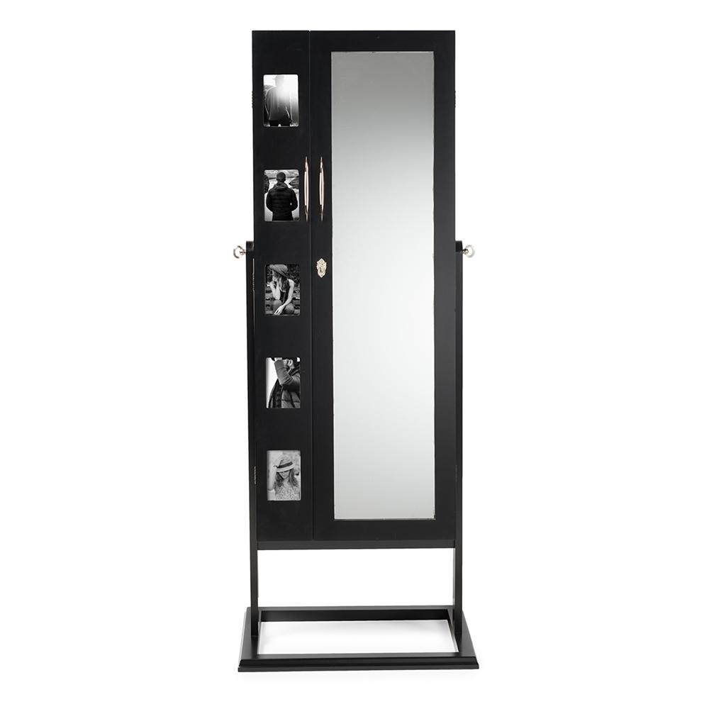 Baxton Studio Vittoria Black Finish Wood Square Foot Floor Standing Double Door Storage Jewelry Armoire Cabinet