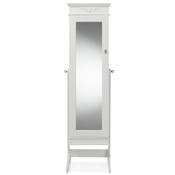 Baxton Studio Bimini White Finish Wood Crown Moulding Top Free Standing Full Length Cheval Mirror Jewelry Armoire