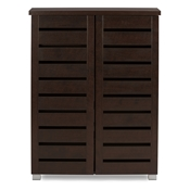 Baxton Studio Adalwin Modern and Contemporary 2-Door Dark Brown Wooden Entryway Shoes Storage Cabinet