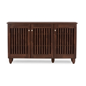 Baxton Studio Fernanda Modern and Contemporary 3-Door Oak Brown Wooden Entryway Shoes Storage Wide Cabinet