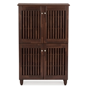 Baxton Studio Fernanda Modern and Contemporary 4-Door Oak Brown Wooden Entryway Shoes Storage Tall Cabinet