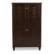 Baxton Studio Winda Modern and Contemporary 4-Door Dark Brown Wooden Entryway Shoes Storage Cabinet
