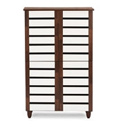 Baxton Studio Gisela Oak and White 2-tone Shoe Cabinet With 4 Door