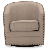 Baxton Studio Porter Modern and Contemporary Classic Retro Beige Fabric Upholstered Swivel Tub Chair
