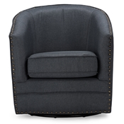 Baxton Studio Porter Modern and Contemporary Classic Retro Grey Fabric Upholstered Swivel Tub Chair