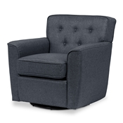 Baxton Studio Canberra Modern Retro Contemporary Grey Fabric Upholstered Button-tufted Swivel Lounge Chair with Arms