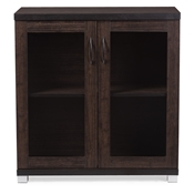 Baxton Studio Zentra Modern and Contemporary Dark Brown Sideboard Storage Cabinet with Glass Doors