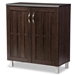 Baxton Studio Excel Modern and Contemporary Dark Brown Sideboard Storage Cabinet - SR 890005-Wenge