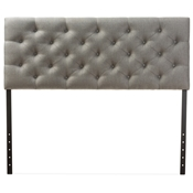 Baxton Studio Viviana Modern and Contemporary Grey Fabric Upholstered Button-tufted Queen Size Headboard