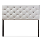 Baxton Studio Viviana Modern and Contemporary White Faux Leather Upholstered Button-tufted Queen Size Headboard