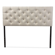 Baxton Studio Viviana Modern and Contemporary Light Beige Fabric Upholstered Button-tufted Queen Size Headboard