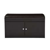 Baxton Studio Margaret Modern and Contemporary Dark Brown Wood 2-Door Shoe Cabinet with Faux Leather Seating Bench