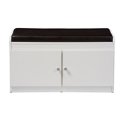 Baxton Studio Margaret Modern and Contemporary White Wood 2-Door Shoe Cabinet with Faux Leather Seating Bench