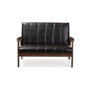 Baxton Studio Nikko Mid-century Modern Scandinavian Style Black Faux Leather Wooden 2-Seater Loveseat