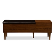 Baxton Studio Merrick Mid-century Retro Modern 1-drawer 2-tone Oak and Dark Brown Wood Entryway Storage Cushioned Bench Shoe Rack Cabinet Organizer