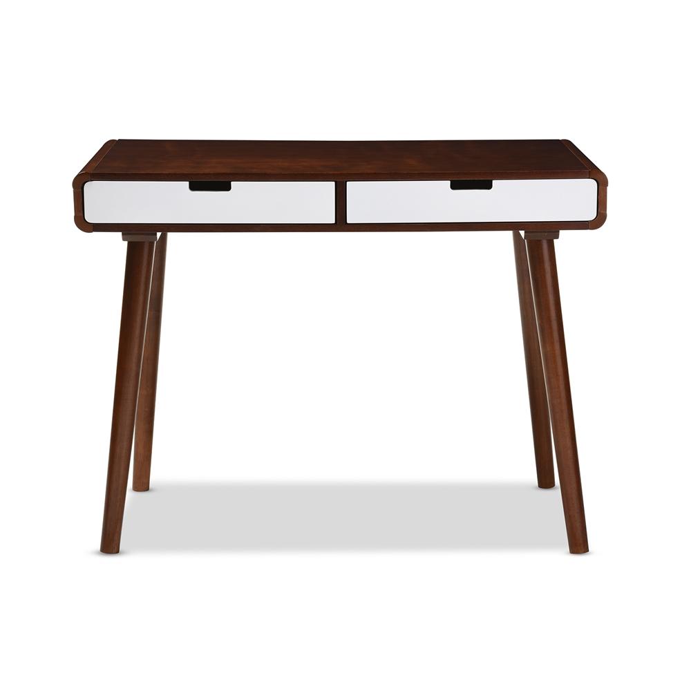 Baxton Studio Casarano Mid-century Modern Dark Walnut and White Two-tone Finish 2-drawer Wood Home Office Writing Desk