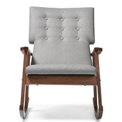 Baxton Studio Agatha Mid-century Modern Grey Fabric Upholstered Button-tufted Rocking Chair Baxton Studio restaurant furniture, hotel furniture, commercial furniture, wholesale living room furniture, wholesale chairs, wholesale rocking chairs, classic rocking chairs