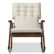 Baxton Studio Agatha Mid-century Modern Light Beige Fabric Upholstered Button-tufted Rocking Chair Baxton Studio restaurant furniture, hotel furniture, commercial furniture, wholesale living room furniture, wholesale chairs, wholesale rocking chairs, classic rocking chairs