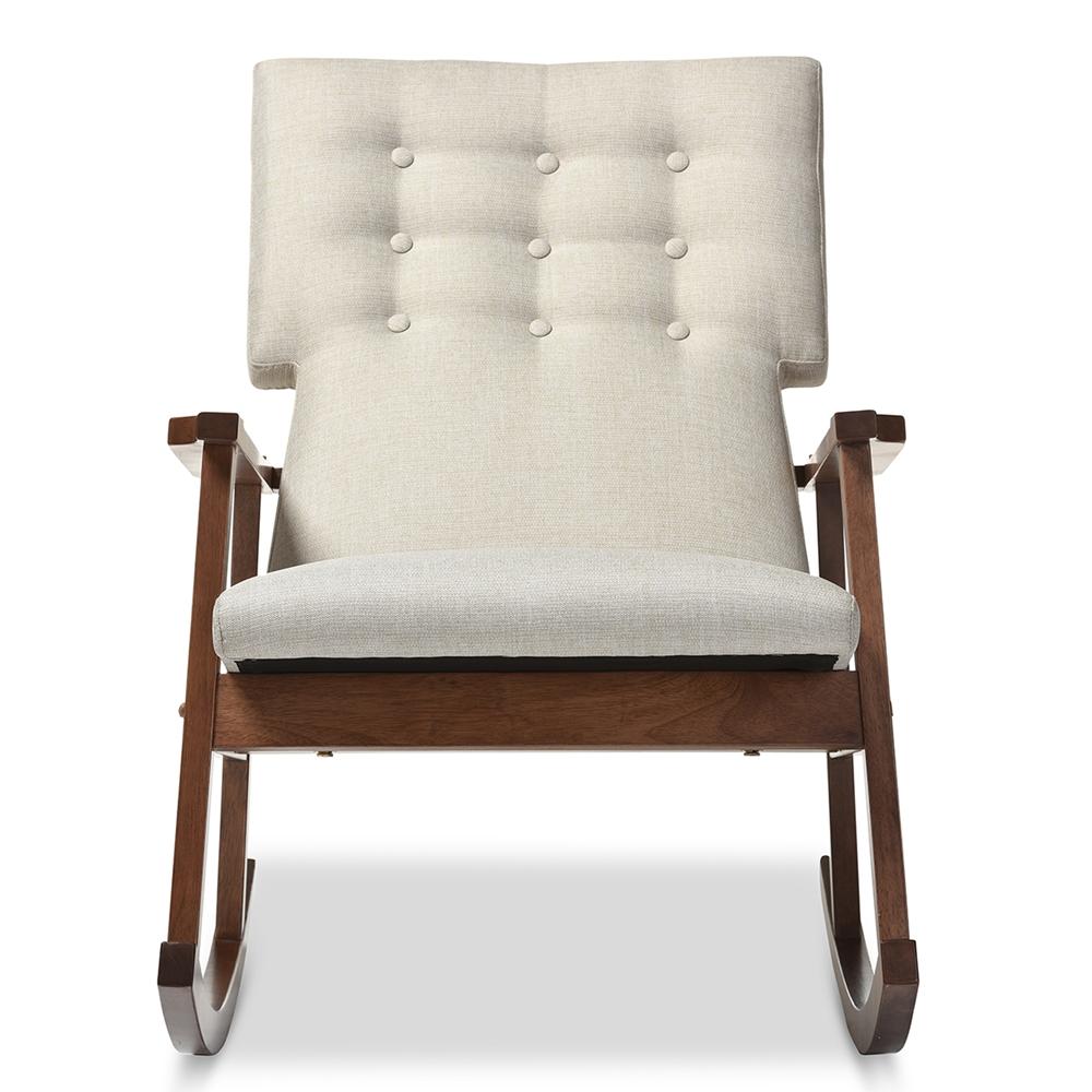 Baxton Studio Agatha Mid Century Modern Light Beige Fabric Upholstered On Tufted Rocking Chair