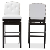 Baxton Studio Ginaro Modern and Contemporary White Faux Leather Button-tufted Upholstered Swivel Bar Stool