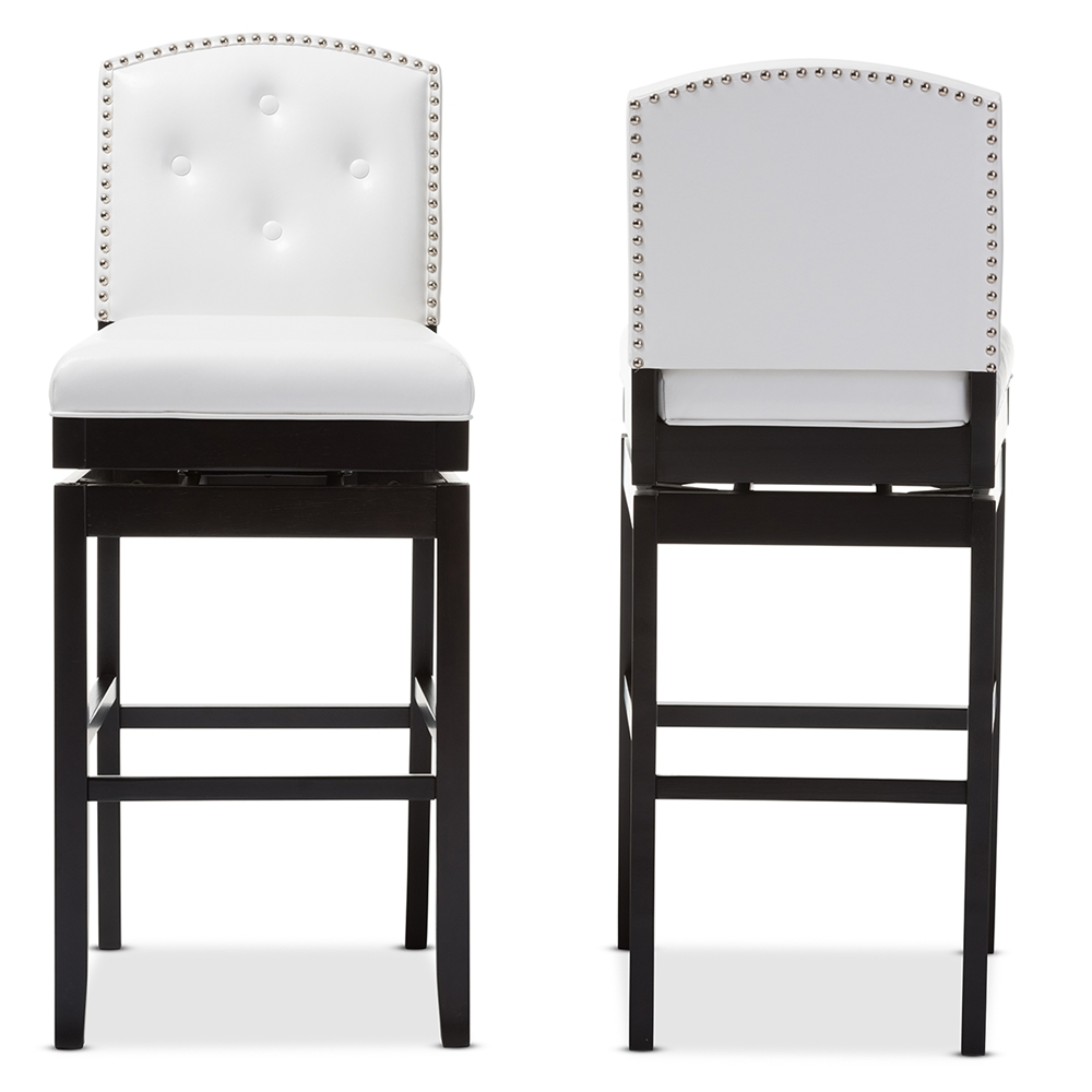 Baxton Studio Ginaro Modern And Contemporary White Faux Leather On Tufted Upholstered Swivel Bar Stool