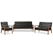 Baxton Studio Sorrento Mid-century Retro Modern Black Faux Leather Upholstered Wooden 3 Piece Living room Set