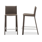 Baxton Studio Crawford Modern and Contemporary Taupe Leather Upholstered Counter Height Stool (Set of 2)