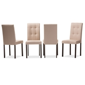 Baxton Studio Andrew Modern and Contemporary Beige Fabric Upholstered Grid-tufting Dining Chair