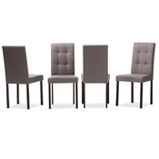 Baxton Studio Andrew Modern and Contemporary Grey Fabric Upholstered Grid-tufting Dining Chair