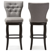 Baxton Studio Leonice Modern and Contemporary Grey Fabric Upholstered Button-tufted 29-Inch Swivel Bar Stool