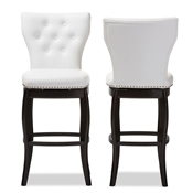 Baxton Studio Leonice Modern and Contemporary White Faux Leather Upholstered Button-tufted 29-Inch Swivel Bar Stool