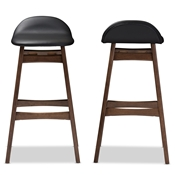 Baxton Studio Bloom Mid-century Retro Modern Scandinavian Style Black Faux Leather Upholstered Walnut Wood Finishing 30-Inches Bar Stool