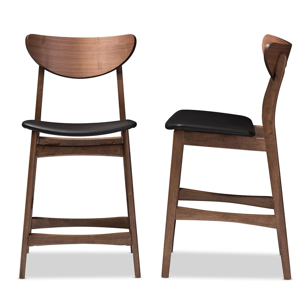 Baxton Studio Latina Mid-century Retro Modern Scandinavian Style Black Faux Leather Upholstered Walnut Wood Finishing 24-Inches Counter Stool