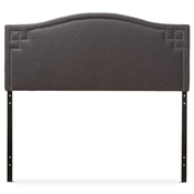 Baxton Studio Aubrey Modern and Contemporary Dark Grey Fabric Upholstered King Size Headboard