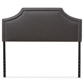 Baxton Studio Avignon Modern and Contemporary Dark Grey Fabric Upholstered Queen Size Headboard