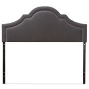 Baxton Studio Rita Modern and Contemporary Dark Grey Fabric Upholstered Queen Size Headboard