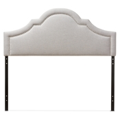 Baxton Studio Rita Modern and Contemporary Greyish Beige Fabric Upholstered Queen Size Headboard