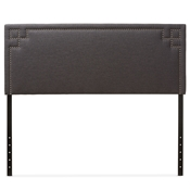 Baxton Studio Geneva Modern and Contemporary Dark Grey Fabric Upholstered Queen Size Headboard