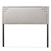 Baxton Studio Geneva Modern and Contemporary Greyish Beige Fabric Upholstered Queen Size Headboard