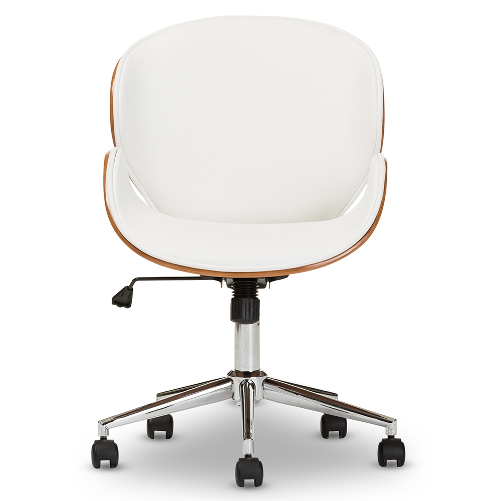 Baxton Studio Bruce Modern and Contemporary White and Walnut Office Chair