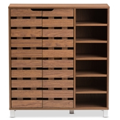 "Baxton Studio Shirley Modern and Contemporary ""Walnut"" Medium Brown Wood 2-Door Shoe Cabinet with Open Shelves Baxton Studio restaurant furniture, hotel furniture, commercial furniture, wholesale foyer furniture, wholesale shoe racks, classic shoe racks"