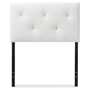 Baxton Studio Kirchem Modern and Contemporary White Faux Leather Upholstered Twin Size Headboard