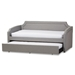 Baxton Studio Parkson Modern and Contemporary Grey Fabric Curved Notched Corners Sofa Twin Daybed with Roll-Out Trundle Guest Bed - Parkson-Grey-Daybed