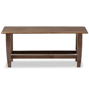 Baxton Studio Pierce Mid-Century Modern Walnut Finished Brown Wood Coffee Table