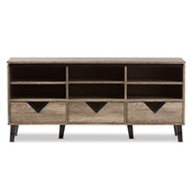 Baxton Studio Wales Modern and Contemporary Light Brown Wood 55-Inch TV Stand Baxton Studio restaurant furniture, hotel furniture, commercial furniture, wholesale living room furniture, wholesale TV stands, classic TV stands