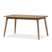 "Baxton Studio Edna Mid-Century Modern French ""Oak"" Light Brown Finishing Wood Dining Table"