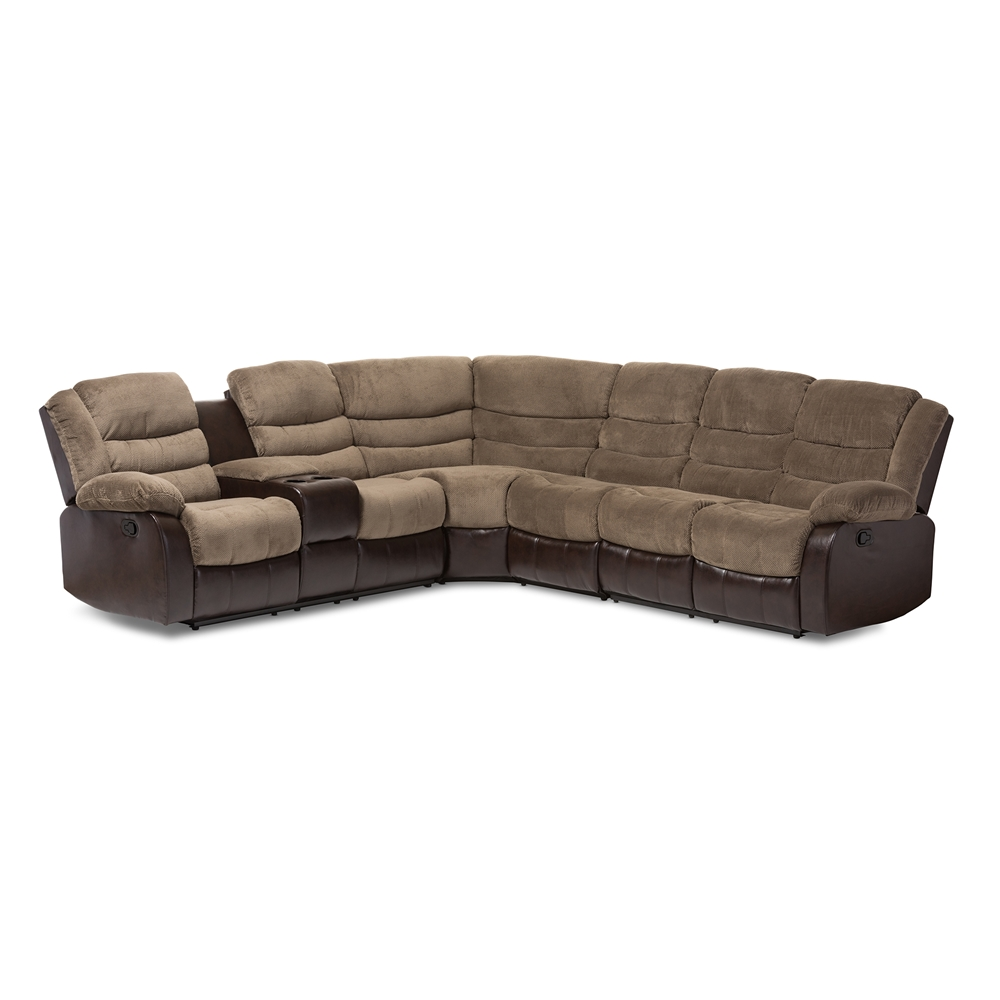 Baxton Studio Robinson Modern and Contemporary Brown Towel Fabric and Brown Faux Leather Two-tone 7-Piece Sectional Sofa