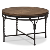Baxton Studio Austin Vintage Industrial Antique Bronze Round Coffee Cocktail Occasional Table